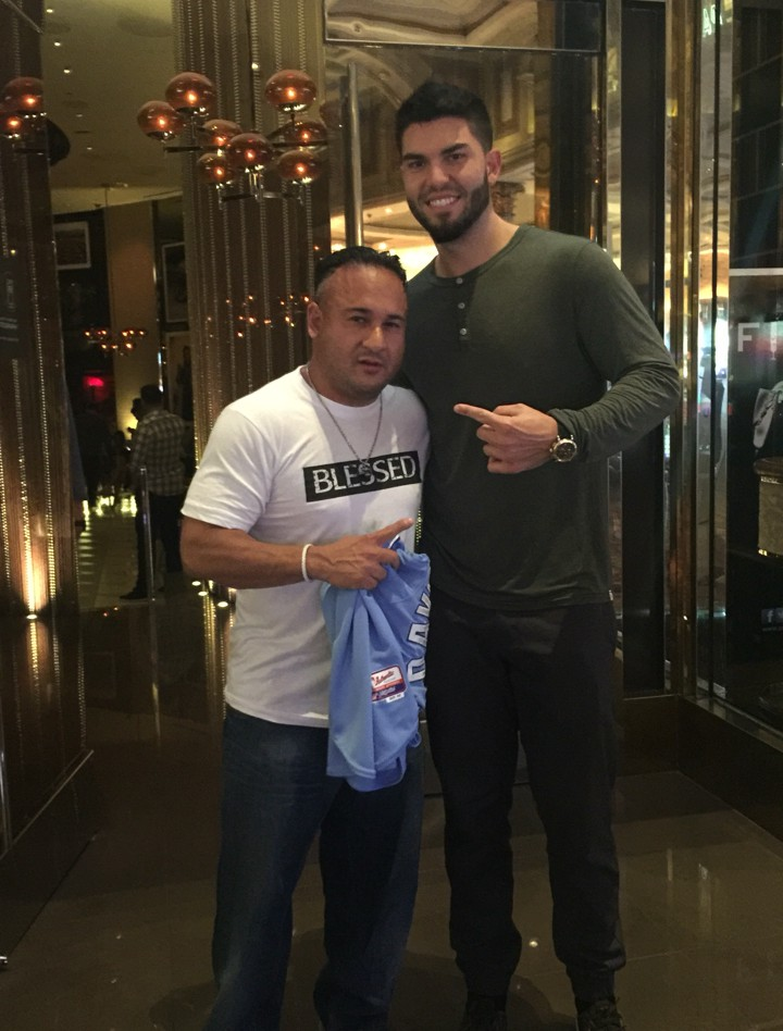 Dave Oancea (left) with Kansas City Royals first baseman Eric Hosmer (right) celebrating Dave's birthday after the 2015 World Series